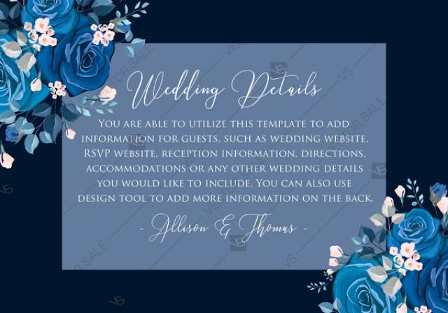 wedding photo - Navy blue pink roses royal indigo sapphire floral background wedding Invitation set PDF 5x3.5 in wedding details online editor
