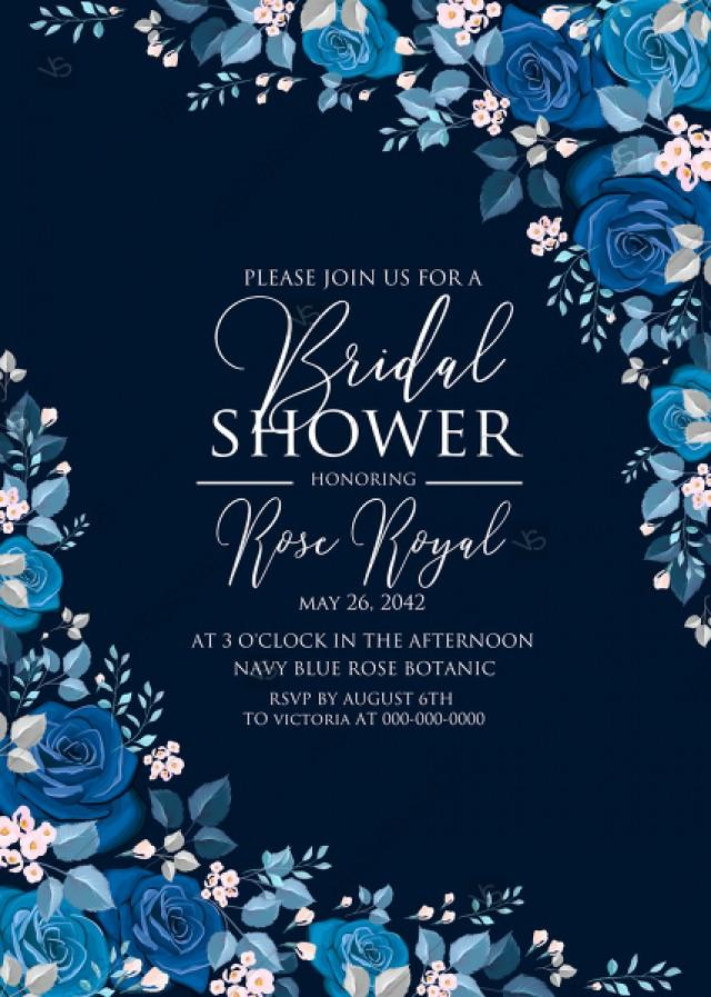 wedding photo - Navy blue pink roses royal indigo sapphire floral background wedding Invitation set PDF 5x7 in bridal shower create online