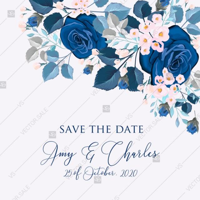 wedding photo - Navy blue pink roses royal indigo sapphire floral background wedding Invitation set PDF 5.25x5.25 in save the date personalized