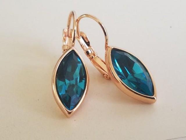 wedding photo - Indicolite Teal Crystal Marquise Earrings, Swarovski Indicolite Rose Gold Leverback Earrings, Dark Teal Navette Earring Wedding Teal Jewelry