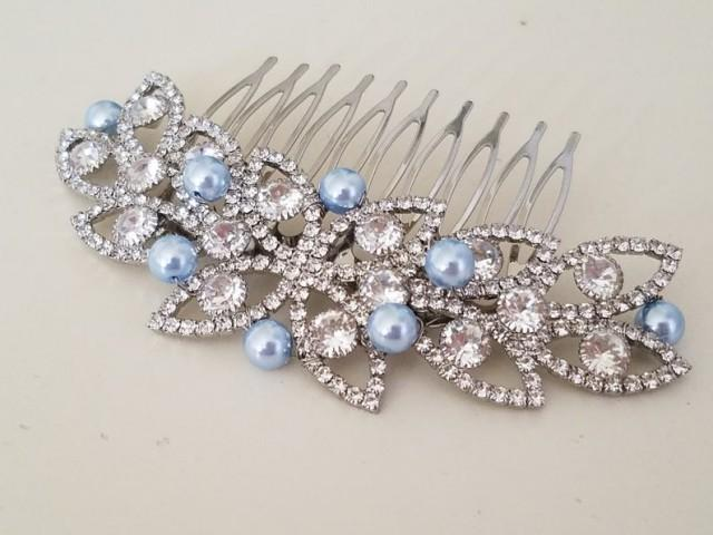 wedding photo - Blue Wedding Hair Comb, Light Blue Pearl Crystal Comb, Bridal Hairpiece, Pastel Blue Silver Headpiece, Vintage Style Hair Piece, Prom Comb