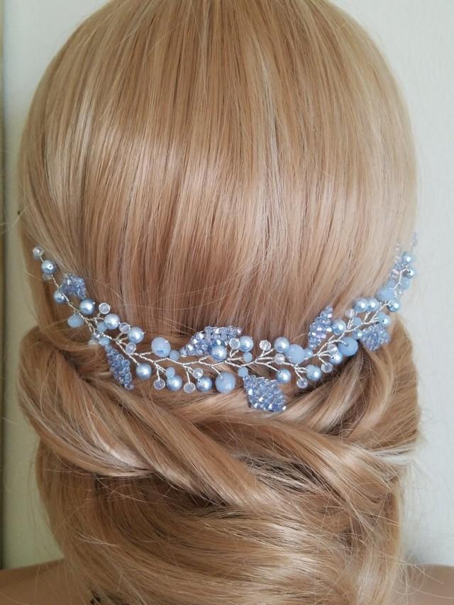 wedding photo - Dusty Blue Hair Piece, Dusty Blue Bridal Hair Vine, Swarovski Light Blue Pearl Headpiece, Wedding Blue Hair Jewelry, Blue Floral Hairpiece
