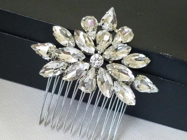 wedding photo - Crystal Bridal Hair Comb, Wedding Rhinestone Hair Piece, Vintage Style Hairpiece, Bridal Hair Jewelry, Crystal Sparkly Hair Comb, Prom Comb