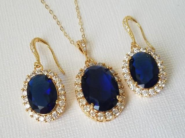 wedding photo - Blue Oval Crystal Jewelry Set, Navy Blue Halo Jewelry Set, Dark Blue Wedding Earrings&Necklace Set, Sapphire Blue Jewelry, Bridal Party Gift