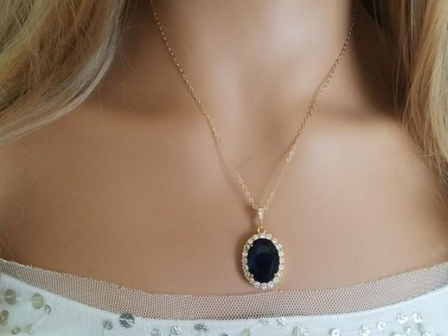 wedding photo - Navy Blue Crystal Necklace, Dark Blue Halo Necklace, Sapphire Blue Gold Oval Pendant, Wedding Navy Jewelry, Bridal Jewelry Bridal Party Gift
