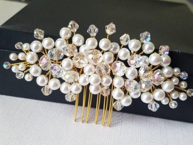 wedding photo - Pearl Gold Wedding Hair Comb, White Pearl Crystal Bridal Headpiece, Wedding Floral Hair Piece, Pearl Crystal Hair Jewelry, Bridal Hairpiece