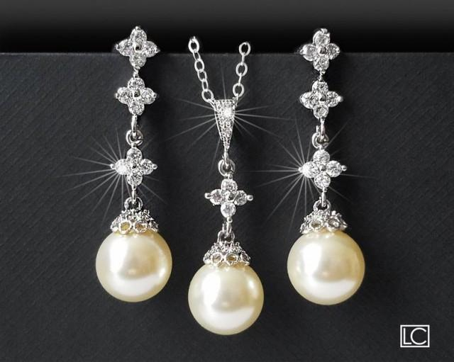 wedding photo - Pearl Bridal Jewelry Set, Wedding Pearl Silver Jewelry Set, Swarovski Ivory Pearl Set, Earrings&Necklace Bridal Set, Bridal Pearl Jewelry
