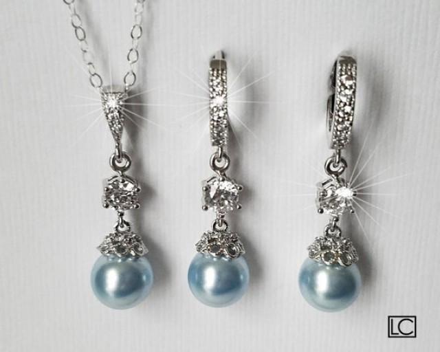 wedding photo - Blue Pearl Bridal Jewelry Set, Wedding Blue Silver Set, Swarovski Light Blue Earrings&Necklace Set, Wedding Blue Jewelry, Bridal Party Gift