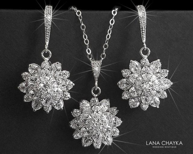 wedding photo - Cubic Zirconia Bridal Jewelry Set, Crystal Flower Earrings&Necklace Set, Wedding Jewelry Set, Bridal Crystal Jewelry, Sparkly CZ Jewelry Set