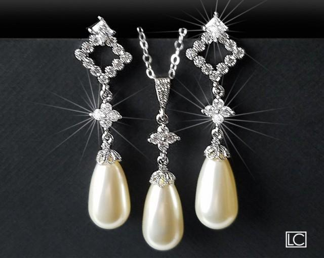 wedding photo - Pearl Bridal Jewelry Set, Ivory Pearl Earrings&Necklace Set, Swarovski Teardrop Pearl Set, Wedding Bridal Jewelry, Ivory Pearl Silver Set