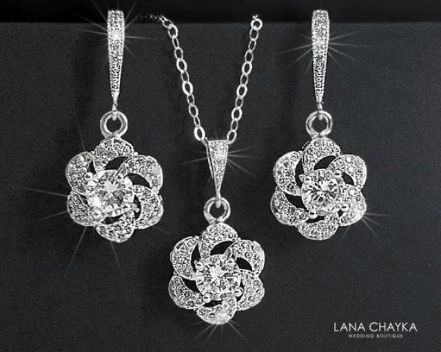 wedding photo - Cubic Zirconia Bridal Jewelry Set, Earrings&Necklace Crystal Set, Camellia Wedding Jewelry Set, Floral Crystal Set, Bridal Jewelry, Prom Set