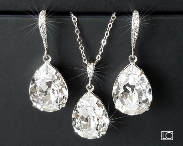 wedding photo - Bridal Crystal Jewelry Set, Swarovski Clear Crystal Earrings&Necklace Set, Teardrop Rhinestone Silver Set, Wedding Sparkly Jewelry Sets
