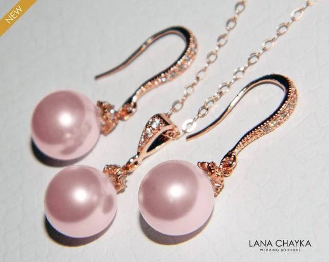 wedding photo - Blush Pink Pearl Rose Gold Jewelry Set, Bridal Blush Pink Earrings&Necklace Set Swarovski 10mm Rosaline Set, Bridesmaid Pink Wedding Jewelry