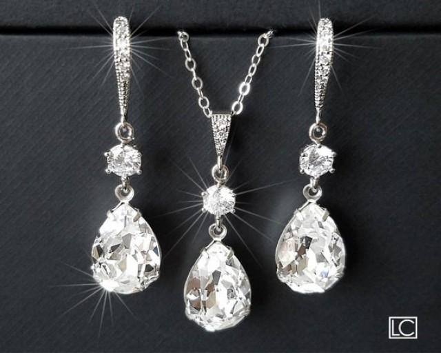 wedding photo - Crystal Bridal Jewelry Set, Swarovski Crystal Earring&Necklace Set, Clear Rhinestone Silver Jewelry Wedding Set, Bridesmaids Bridal Jewelry