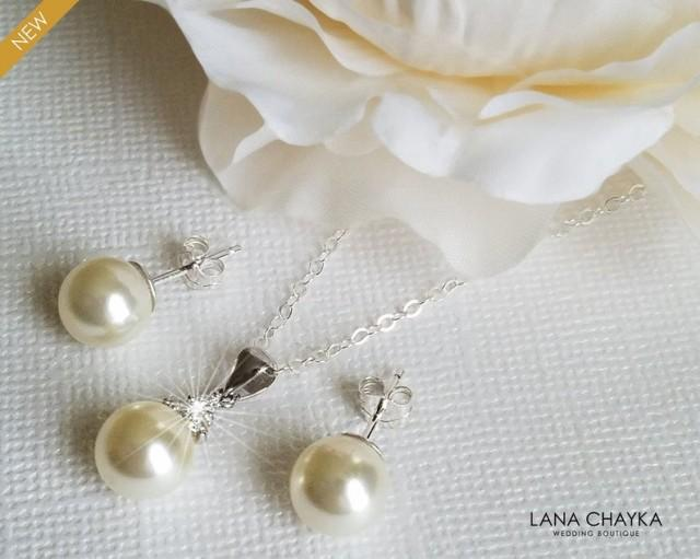 wedding photo - Pearl Sterling Silver Bridal Jewelry Set, Swarovski 8mm Ivory Pearl Earrings&Necklace Set, Pearl Dainty Wedding Jewelry Set, Bridal Jewelry