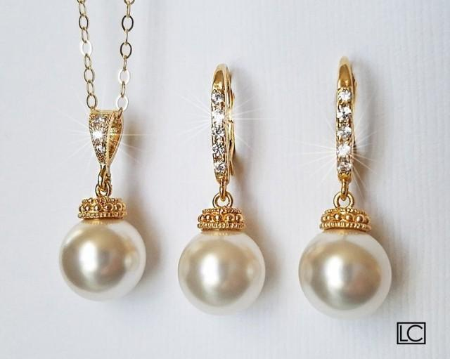 wedding photo - White Pearl Gold Bridal Jewelry Set, Swarovski 10mm Pearl Earrings&Necklace Set, Bridal Bridesmaid Jewelry Bridal Party Gift Wedding Jewelry