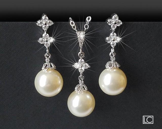 wedding photo - Wedding Jewelry Set, Pearl Bridal Jewelry Set, Swarovski Ivory Pearl Earrings&Necklace Set, Bridal Jewelry, Pearl Drop Silver Set, Prom Set