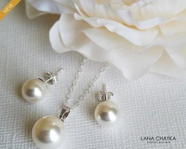 wedding photo - White Pearl Bridal Jewelry Set, Swarovski Pearl Earrings&Necklace Set, Classic Pearl Jewelry Set, Pearl Sterling Silver Jewelry, Prom Set