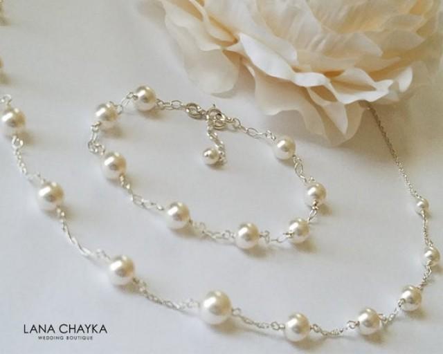 wedding photo - White Pearl Bridal Jewelry Set, Swarovski Pearl Necklace&Bracelet Set, White Pearl Wedding Jewelry, Bridal Pearl Jewelry, Dainty Pearl Sets