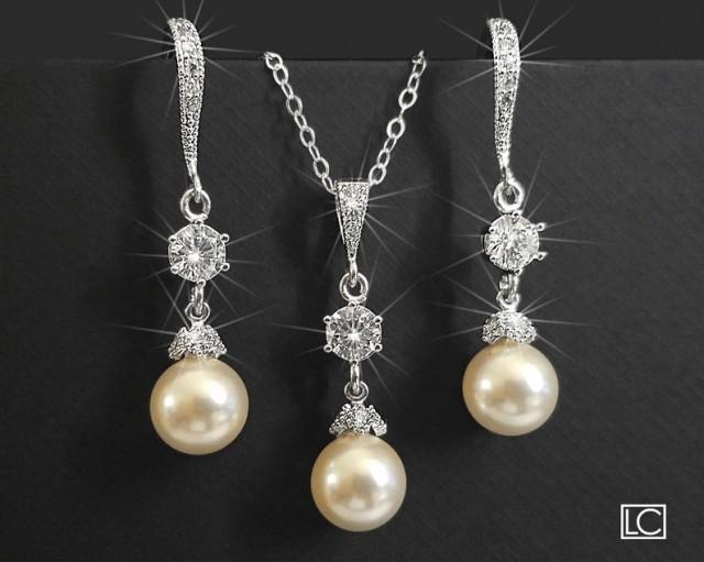 wedding photo - Pearl Bridal Jewelry Set, Swarovski 8mm Ivory Pearl Set, Earrings&Necklace Wedding Jewelry Set Bridal Pearl Jewelry Pearl Silver Jewelry Set