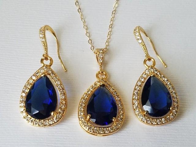 wedding photo - Navy Blue Gold Crystal Jewelry Set, Blue Sapphire Teardrop Bridal Set, Blue Halo Earrings&Necklace Jewelry Set, Dark Blue Jewelry, Prom Set