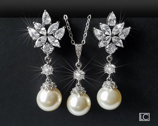 wedding photo - Pearl Bridal Jewelry Set, Wedding Ivory Pearl Earrings&Necklace Set, Swarovski Pearl Silver Set, Bridal Pearl Jewelry, Wedding Pearl Jewelry