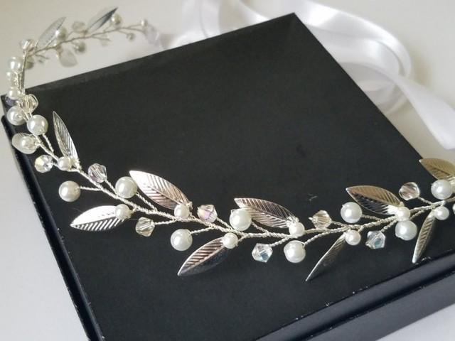 wedding photo - Bridal Hair Vine, White Pearl Leaf Headpiece, Wedding Pearl Hair Piece, Pearl Silver Wreath, Silver Leaves Headpiece, Bridal Hair Jewelry