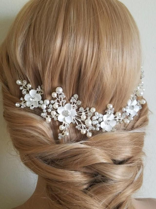 wedding photo - Pearl Crystal Bridal Hair Vine, Wedding Hair Wreath, Pearl Floral Headpiece, Bridal Hair Jewelry, White Pearl Crystal Hair Vine, Pearl Vine