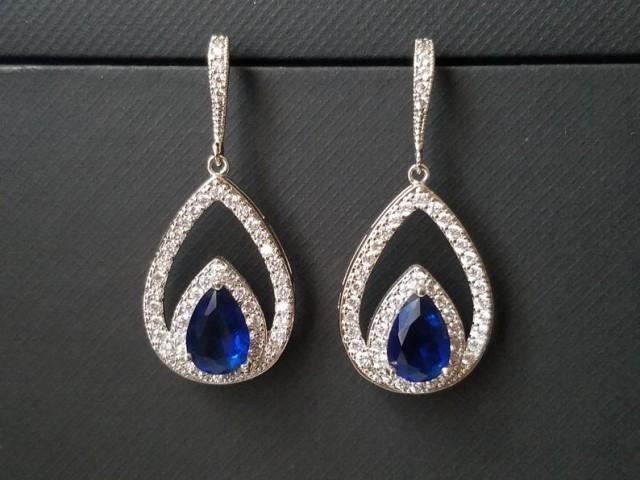 wedding photo - Navy Blue Crystal Earrings, Blue Cubic Zirconia Wedding Earrings, Sapphire Teardrop Earrings, Statement Earrings, Royal Blue Bridal Earrings