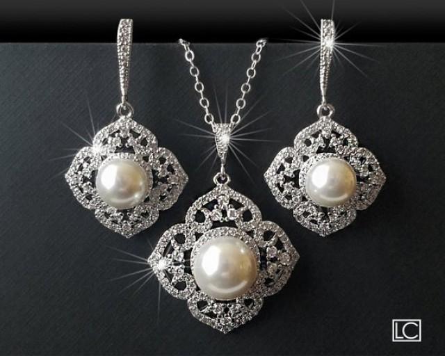 wedding photo - Pearl Bridal Jewelry Set, White Pearl Silver Wedding Set, Filigree Pearl Jewelry Set, Pearl Earrings&Necklace Set, Bridal Pearl Jewelry