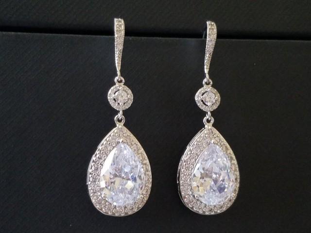 wedding photo - Bridal Cubic Zirconia Earrings, Teardrop Crystal Wedding Earrings, Chandelier Dangle Earrings, Sparkly Crystal Halo Earrings Prom Jewelry