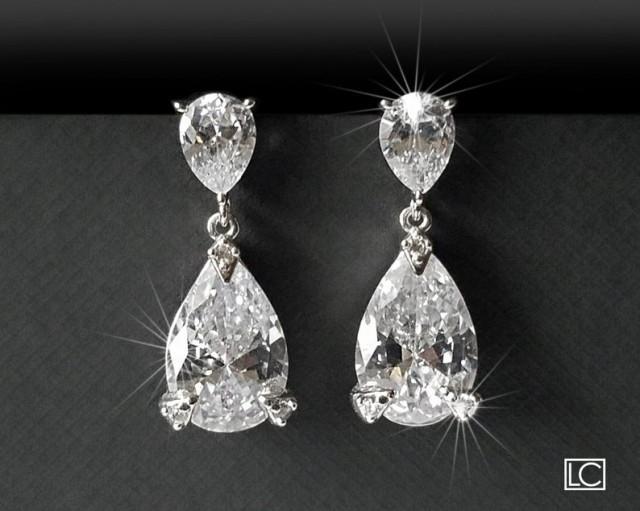 wedding photo - Crystal Bridal Earrings, Teardrop Crystal Silver Earrings, Wedding Jewelry, Cubic Zirconia Bridal Earrings, Wedding Jewelry, Crystal Jewelry