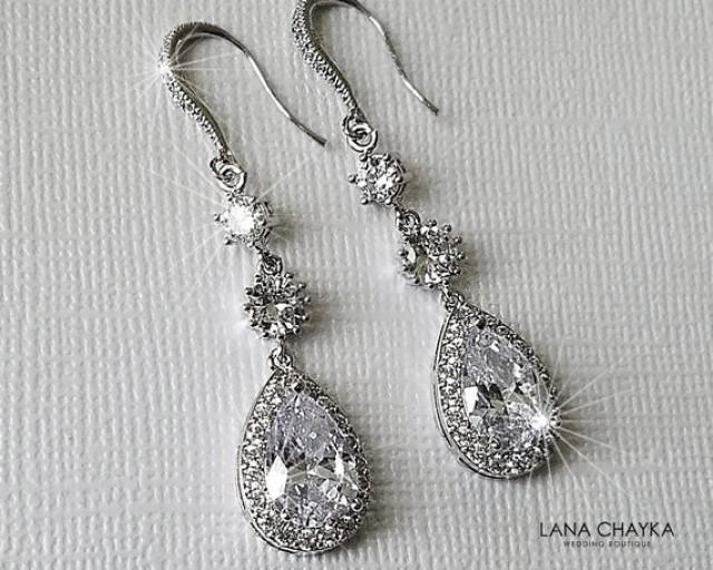 wedding photo - Crystal Bridal Earrings, Wedding Halo Silver Earrings, Teardrop Chandelier Earrings, Statement Earrings, Bridal Jewelry, Dangle CZ Earrings