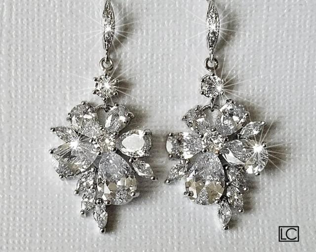 wedding photo - Crystal Bridal Earrings, Cubic Zirconia Chandelier Earrings, Sparkly Floral Crystal Earrings, Wedding Jewelry, Bridal Statement Earrings