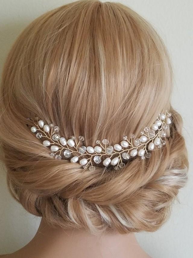wedding photo - Pearl Gold Bridal Hair Vine, Pearl Crystal Hair Piece, Wedding Crystal Pearl Wreath, Bridal Pearl Hair Jewelry, Bridal Freshwater Pearl Vine