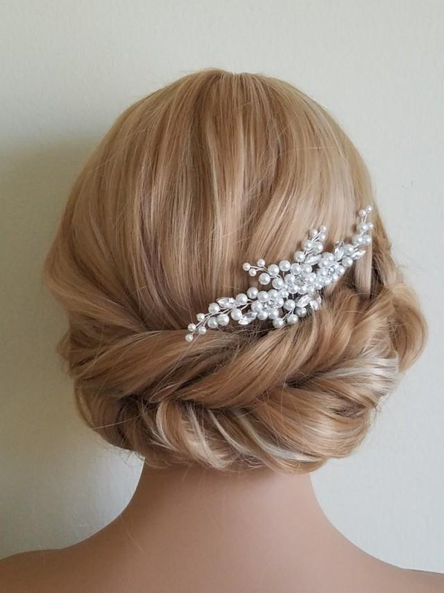 wedding photo - Pearl Bridal Hair Comb, White Pearl Headpiece, Wedding Pearl Crystal Hair Piece, Bridal Hairpiece, Wedding Hair Jewelry, Pearl Floral Comb