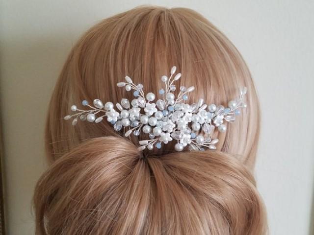 wedding photo - Dusty Blue White Hair Comb, Pearl Bridal Hair Comb, Wedding White Light Blue Headpiece, Wedding Floral Hair Piece, Pearl Crystal Hairpiece
