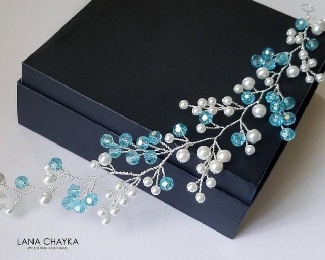 wedding photo - Pearl Crystal Bridal Hair Vine, White Pearl Blue Turquoise Headpiece, Wedding Hair Piece, Bridal Hair Jewelry, Pearl Crystal Floral Wreath