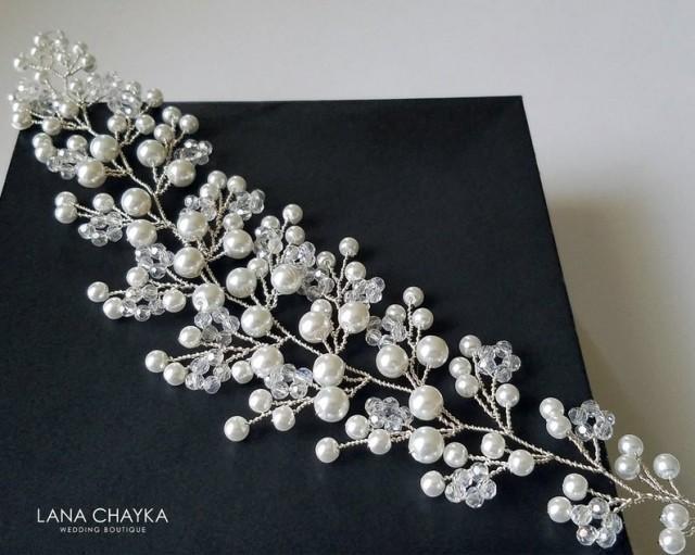 wedding photo - Pearl Crystal Bridal Hair Vine, Wedding Floral Hair Piece, White Pearl Wreath, Bridal Pearl Headpiece, Wedding Pearl Hair Piece Hair Jewelry