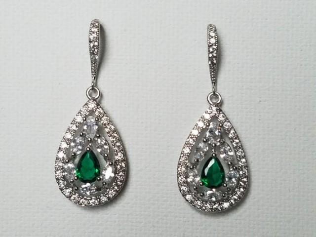 wedding photo - Crystal Bridal Earrings, Cubic Zirconia Wedding Earrings, Teardrop Sparkly Earrings, Clear Emerald CZ Chandelier Earrings, Bridal Jewelry