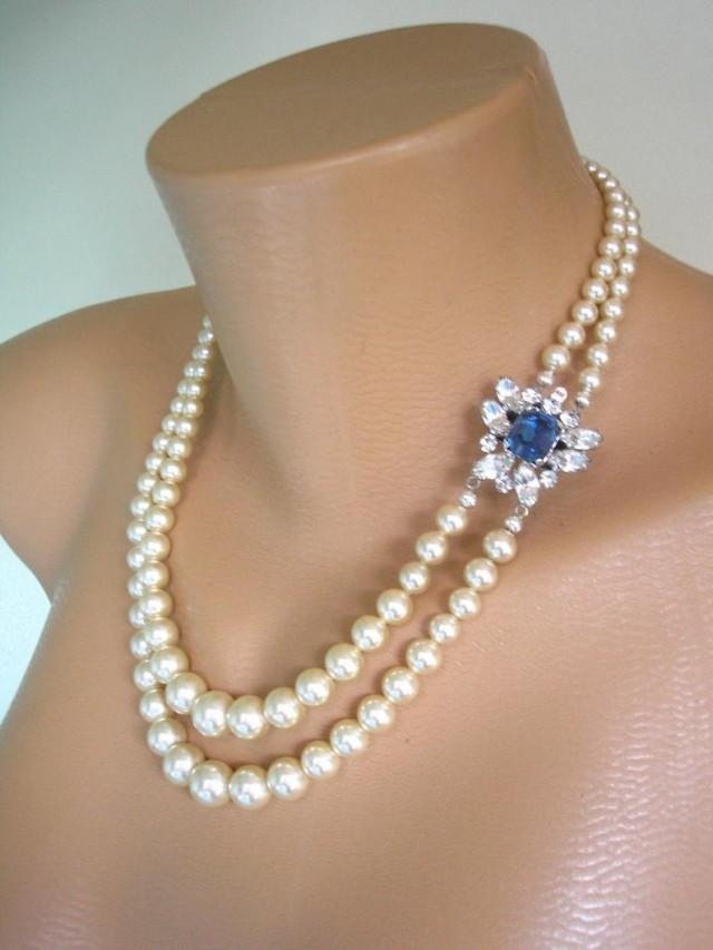wedding photo - Vintage Two Strand Pearl Necklace With side Clasp, Vintage Bridal Pearls, 2 Strand Pearls, Montana Sapphire, Vintage Pearl Choker, Art Deco