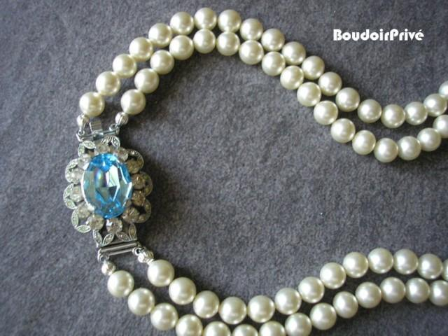 wedding photo - Pearl and Aquamarine Necklace, Vintage Pearl Choker, Aqua, Blue Topaz, Two Strand, Bridal Pearls, Pearls With Side Clasp