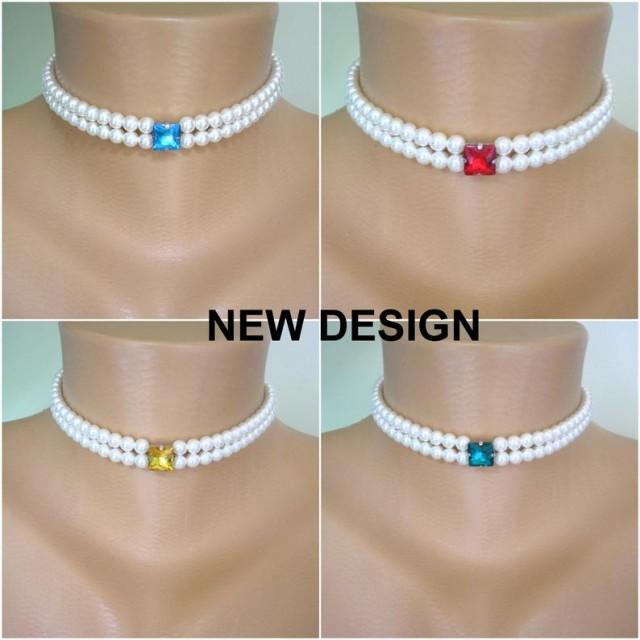 wedding photo - 2 Strand Pearl Choker, Pearl Choker, MORE COLOURS, Custom Necklace, Bridal Choker, Wedding Jewelry, Prom, Bridal Necklace, Gatsby