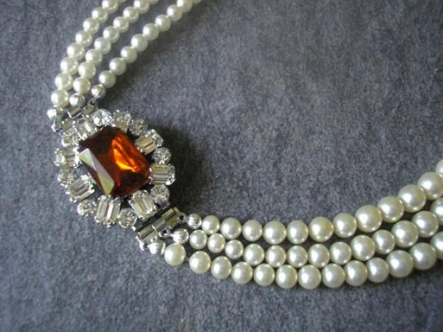 wedding photo - Vintage Pearl Choker With Side Clasp, Vintage Pearl Necklace, Cognac Topaz And Pearl, Vintage Bridal Pearls, Bridal Necklace, Fall Wedding
