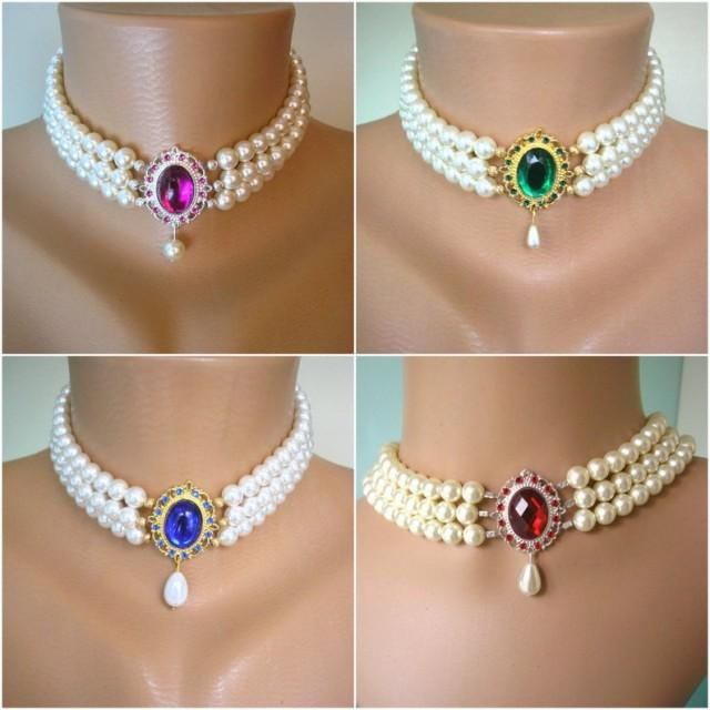 wedding photo - Swarovski Pearl Choker, Indian Choker Necklace, Downton Abbey, Custom Necklace, Pearl Bridal Necklace, Emerald, Opal, Sapphire, Ruby