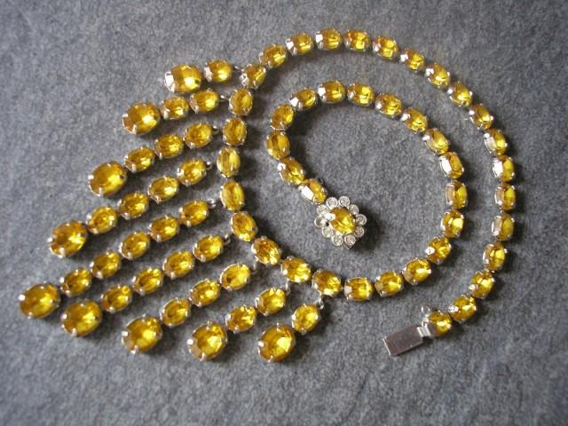 wedding photo - Vintage Citrine Rhinestone Necklace