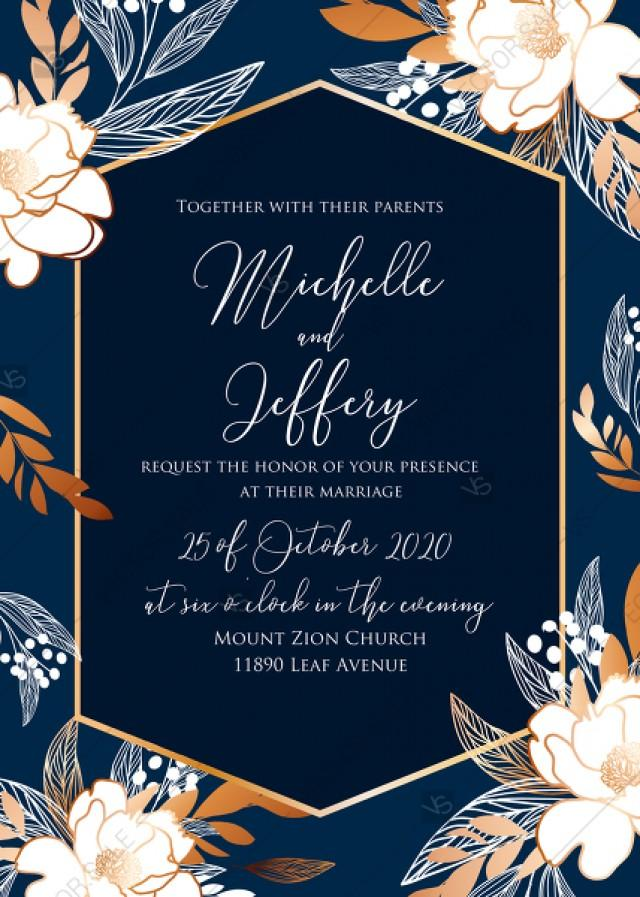 wedding photo - Online Editor - Peony foil gold navy classic blue background wedding Invitation set PDF 5x7 in online editor