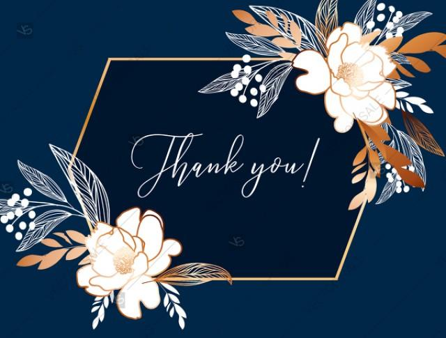 wedding photo - Online Editor - Peony foil gold navy classic blue background thank you card wedding Invitation set PDF 5.6x4.25 in edit template