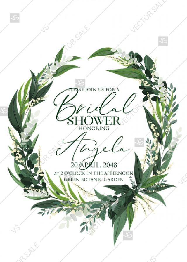 wedding photo - Provence bohemian greenery and field herbs wedding bridal shower invitation set PDF 5x7 in edit online