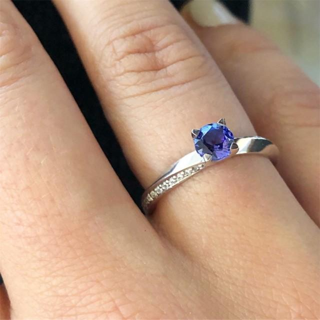 wedding photo - 18K Handmade Solid White Gold Solitaire ring ''BLUE'' with Round Natural Blue Sapphire 5mm, and 34 Brilliant cut Natural White Diamonds 1mm